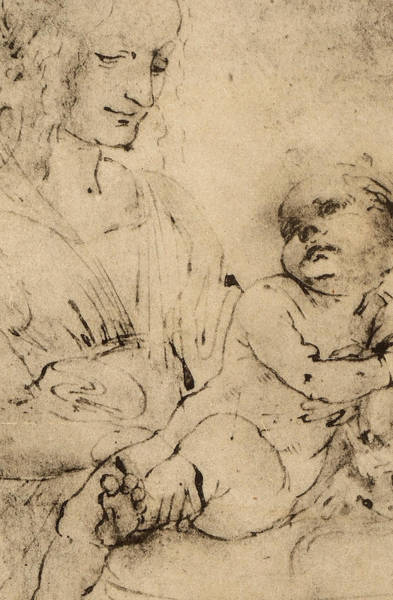 Christ Drawing - Study Of A Madonna And Child by Leonardo Da Vinci