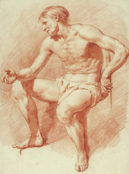 Crayon Drawing - Study Of A Male Nude by Adriaen van de Velde