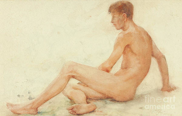Masculine Painting - Study Of A Male Nude, Seated, Turning Away To The Right by Henry Scott Tuke