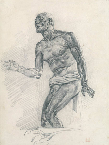 Drawing - Study Of A Male Nude Study For The Death Of Seneca by Eugene Delacroix
