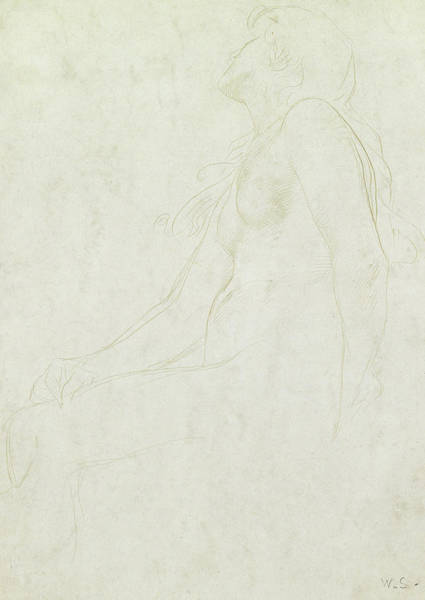 Beautiful Girl Drawing - Study Of A Nude by William Strang