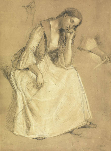 Pastel Pencil Drawing - Study Of A Seated Girl by Charles Cope West