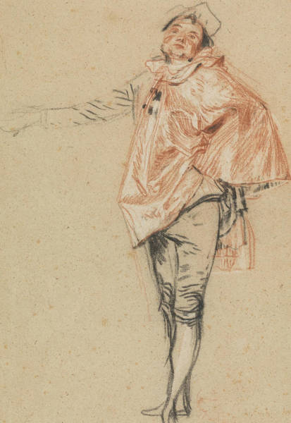 Baroque Drawing - Study Of A Standing Dancer With An Outstretched Arm by Antoine Watteau