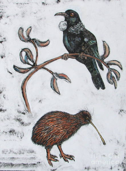 Monotype Mixed Media - Study Of A Tui And A Brown Kiwi by Pamela Iris Harden
