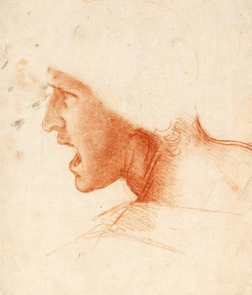 Drawing - Study Of A Warrior's Head For The Battle Of Anghiari by Leonardo da Vinci