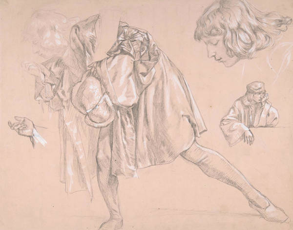 Drawing - Study Of A Young Man Bending Forward To Kiss A Hand, For The Painting The Departure Of The Prodigal  by James Tissot