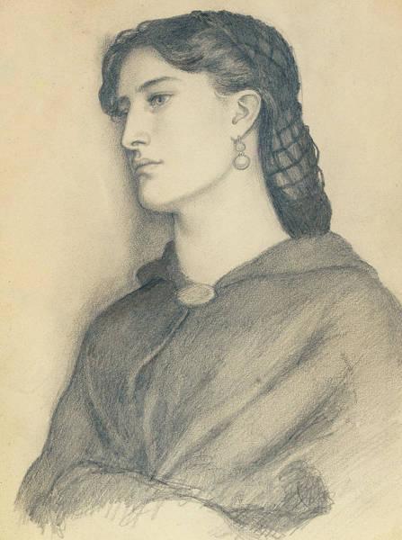 Elegant Drawing - Study Of Aggie Manetti  by Dante Gabriel Charles Rossetti