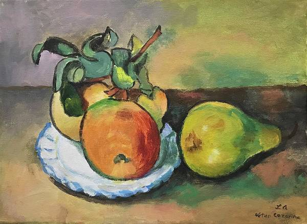 Painting - Study Of Cezanne's Apple And A Pear by Linda Anderson