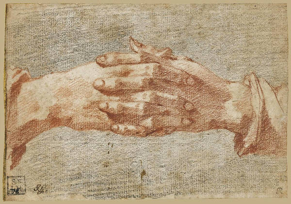 Unity Drawing - Study Of Clasped Hands by Andrea Boscoli