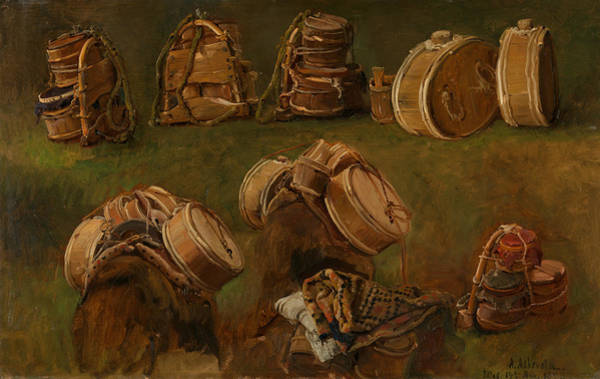 Norwegian Painting - Study Of Pack Saddles And Other Objects by Anders Askevold