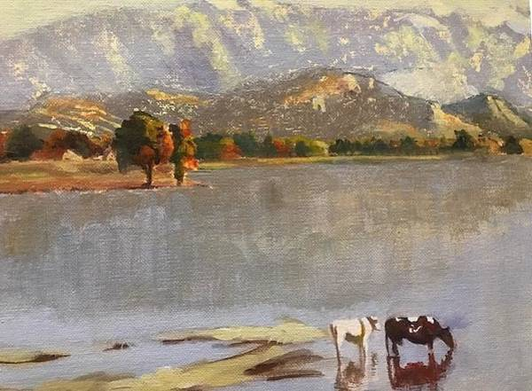 Painting - Study Of Sanford Gifford's Early October In The White Mountains by Linda Anderson
