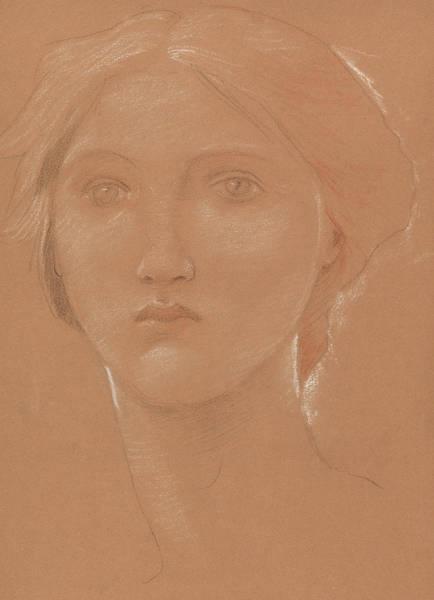 Wall Art - Drawing - Study Of The Head Of Margaret Burne Jones by Edward Coley Burne-Jones