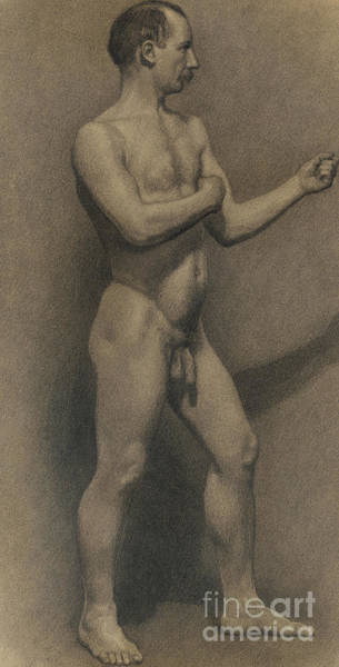 Pastel Pencil Drawing - Study Of The Male Figure, 1875 by Theodore Robinson