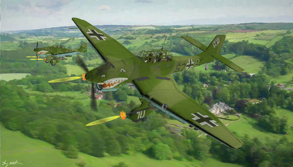 Junkers Digital Art - Stukas Strafing The Russian Front - Oil by Tommy Anderson
