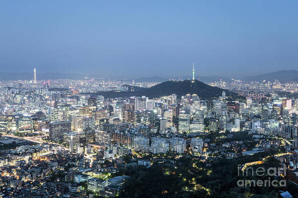Photograph - Stunning Aerial View Of Seoul Business District At Dusk In South by Didier Marti