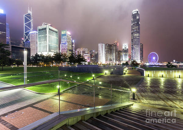 Photograph - Stunning Night View Of The Famous Hong Kong Island Business Dist by Didier Marti