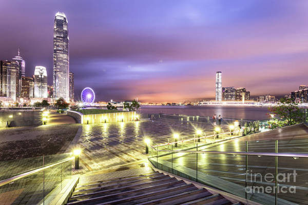 Photograph - Stunning Night View Of The Famous Hong Kong Island Skyline And V by Didier Marti