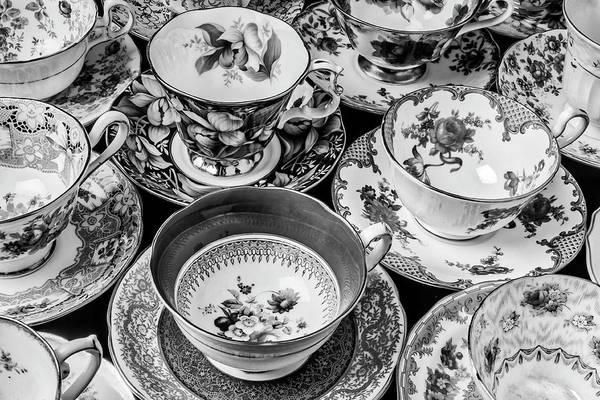 Saucer Photograph - Stunning Tea Cups In Black And White by Garry Gay