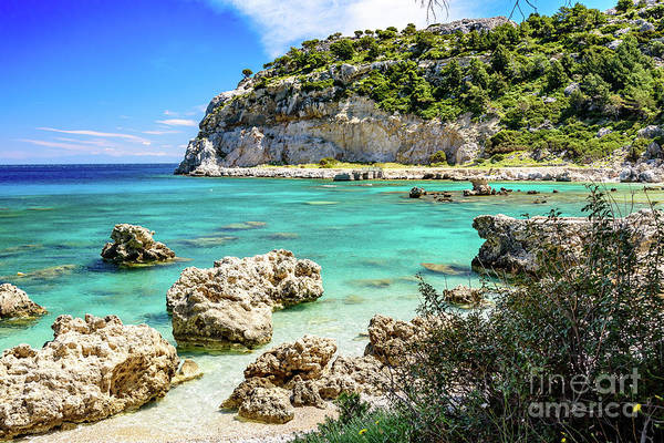 Photograph - Stunning Water Of Ladiko Beach, Anthony Quinn Bay, Faliraki, Rhodes, Greece by Global Light Photography - Nicole Leffer