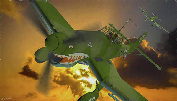 Junkers Digital Art - Stuka Out Of The Sun -battle Of Britain-oil by Tommy Anderson