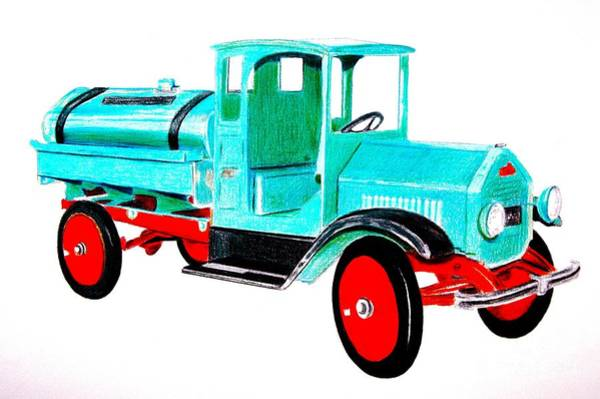Colored Pencil Drawing Drawing - Sturdi Sprinkler Truck by Glenda Zuckerman