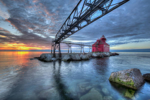 Sturgeon Bay Lighthouse Sunrise Art Print