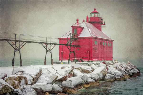 Wall Art - Photograph - Sturgeon Bay Pierhead Lighthouse Storm by Joan Carroll