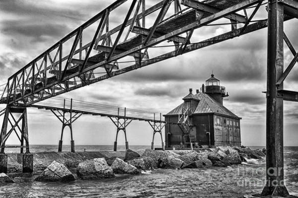 Wall Art - Photograph - Sturgeon Bay Ship Canal North Pierhead Lighthouse In Black And White by Margie Hurwich