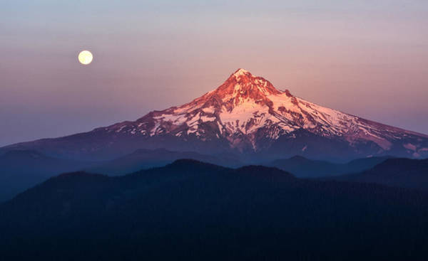 Photograph - Sturgeon Moon Over Mount Hood by Jon Ares