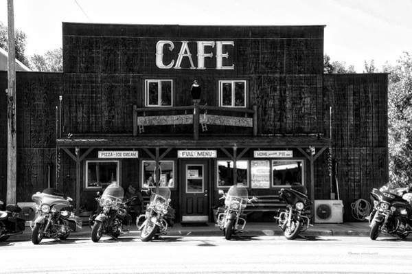 Wall Art - Photograph - Sturgis Pit Stop Hulett Wyoming 04 Bw by Thomas Woolworth