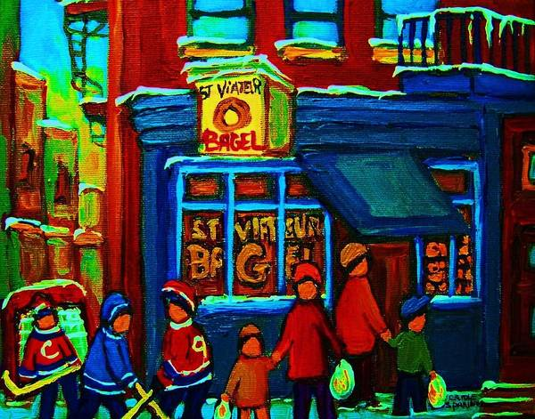 Painting - St.viateur Bagel And Hockey Kids by Carole Spandau
