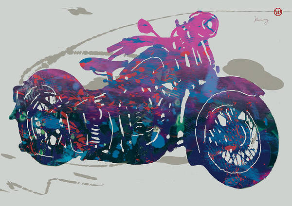 Mini Cooper Wall Art - Drawing - Stylised Motorcycle Art Sketch Poster - 1 by Kim Wang