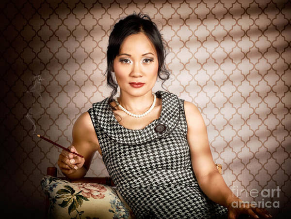 Sultry Photograph - Stylish Vintage Asian Pin-up Lady With Cigarette by Jorgo Photography - Wall Art Gallery