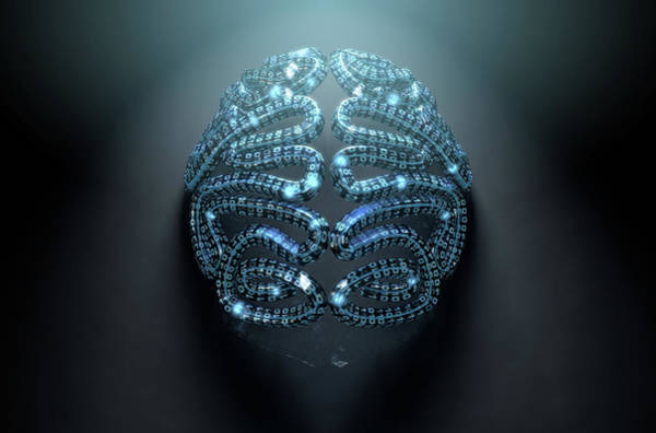 Intelligence Digital Art - Stylized Artificial Intelligence Brain by Allan Swart