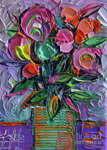Gestural Painting - Stylized Bouquet On Purple by Mona Edulesco