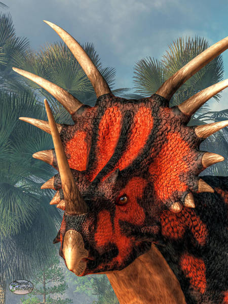 Digital Art - Styracosaurus Head by Daniel Eskridge