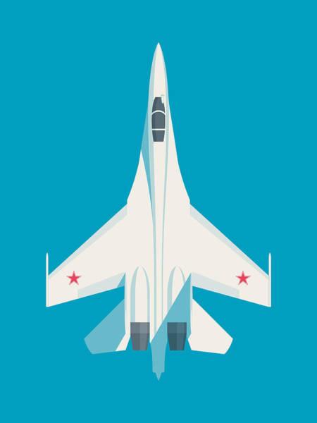 Jet Digital Art - Su-27 Flanker Fighter Jet Aircraft - Cyan by Ivan Krpan