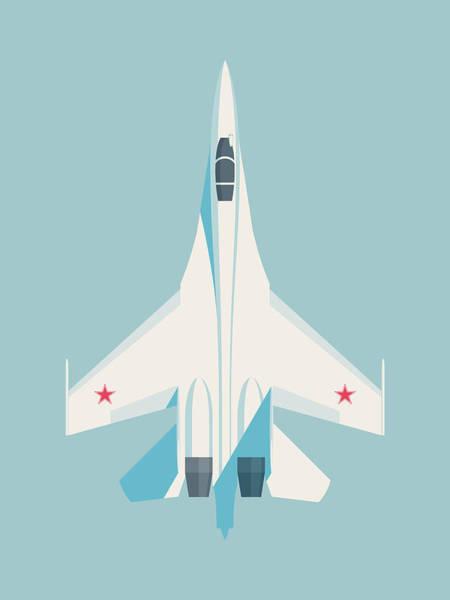 Jet Digital Art - Su-27 Flanker Fighter Jet Aircraft - Sky by Ivan Krpan