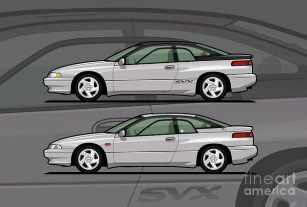 Wall Art - Digital Art - Subaru Alcyone Svx Duo Liquid Silver by Monkey Crisis On Mars