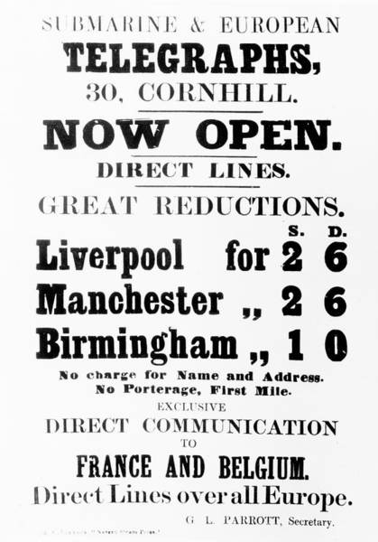 Manchester Drawing - Submarine And European Telegraphs Advertisement by English School