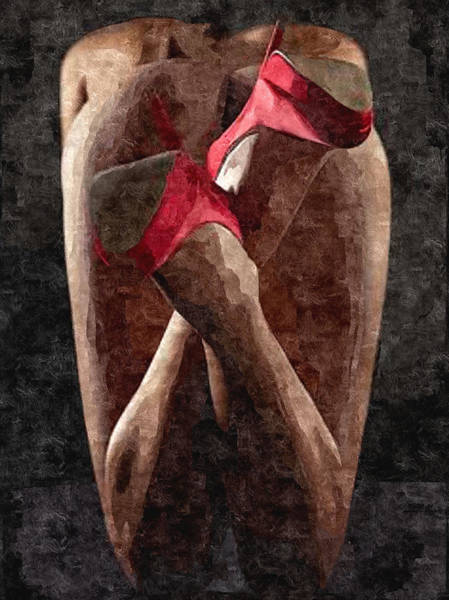 Xxx Painting - Submission In Red - Rear View by BDSM love