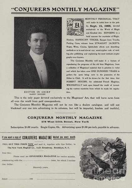 Magical Drawing - Subscription Form For Conjurers Monthly Magazine, Editor In Chief Harry Houdini, Circa 1906 by American School