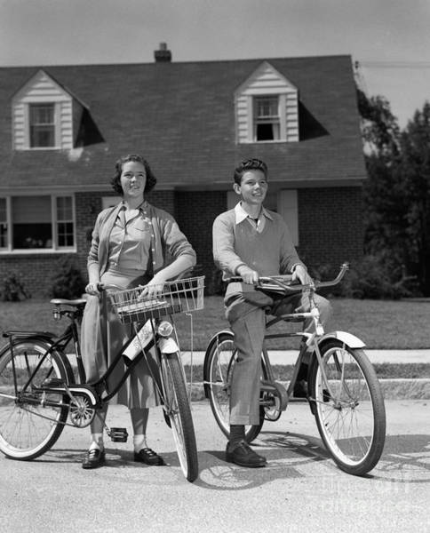 Photograph - Suburban Teens On Bikes, C.1950s by H. Armstrong Roberts/ClassicStock