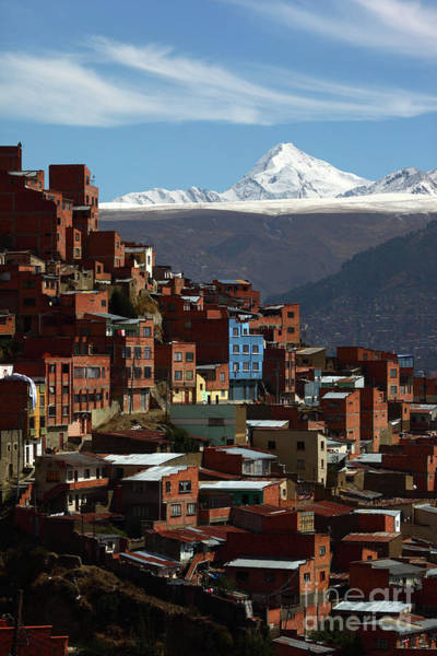 Photograph - Suburbs Of La Paz And Mt Huayna Potosi Bolivia by James Brunker