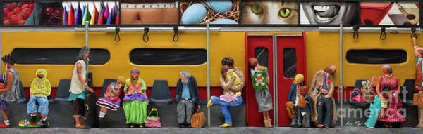 Traveler Mixed Media - Subway - Lonely Travellers by Anne Klar