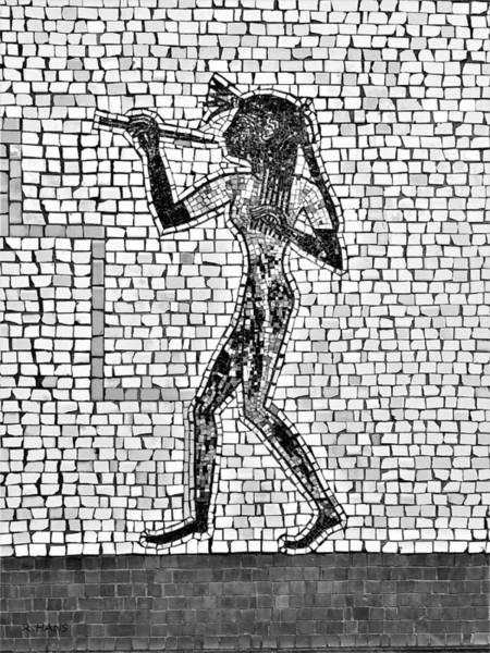 Photograph - Subway Mosaic Egyptian Left B W by Rob Hans