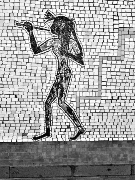 Photograph - Subway Mosaic Egyptian Right B W by Rob Hans