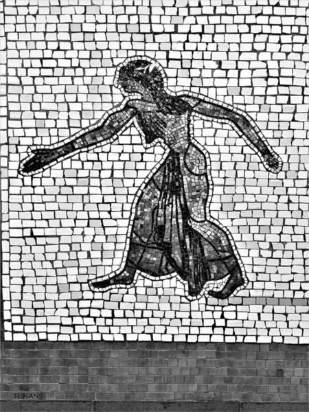 Photograph - Subway Mosaic Egyptian Woman B W by Rob Hans