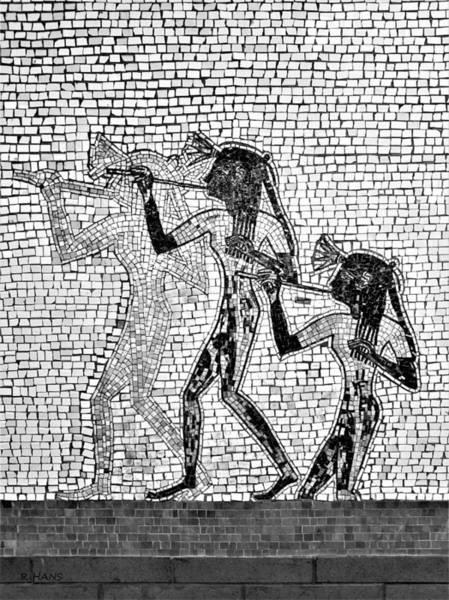 Photograph - Subway Mosaic Egyptians B W by Rob Hans