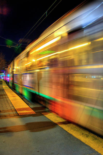 Photograph - Subway T Stop Train Motion Blur - Boston Art by Joann Vitali